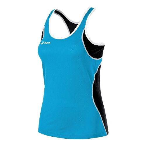 Womens ASICS Main Street Beach Tank Technical Tops - Atomic Blue/Black XL