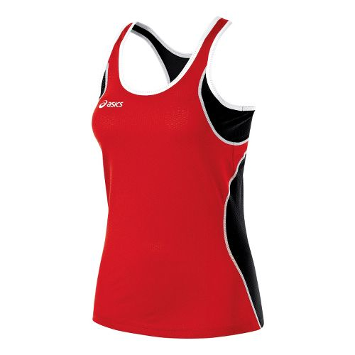 Womens ASICS Main Street Beach Tank Technical Tops - Red/Black XS