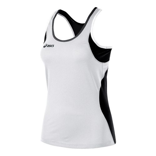 Womens ASICS Main Street Beach Tank Technical Tops - White/Black XS