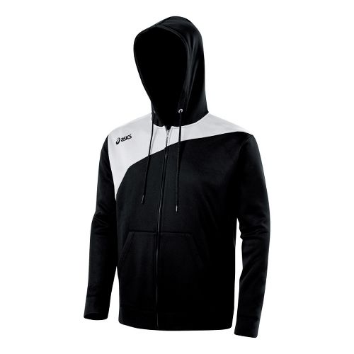 ASICS Poly Logo Fleece Warm-Up Hooded Jackets - Black/White M