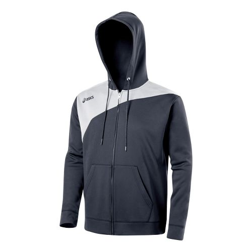 ASICS Poly Logo Fleece Warm-Up Hooded Jackets - Graphite/White L