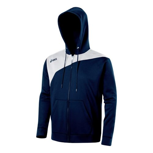 ASICS Poly Logo Fleece Warm-Up Hooded Jackets - Navy/White XS