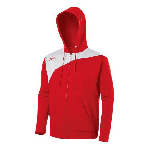 ASICS Poly Logo Fleece Warm-Up Hooded Jackets - Red/White XS