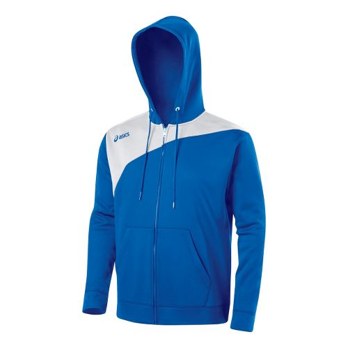 ASICS Poly Logo Fleece Warm-Up Hooded Jackets - Royal/White M