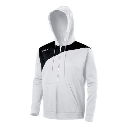 ASICS Poly Logo Fleece Warm-Up Hooded Jackets - White/Black XS