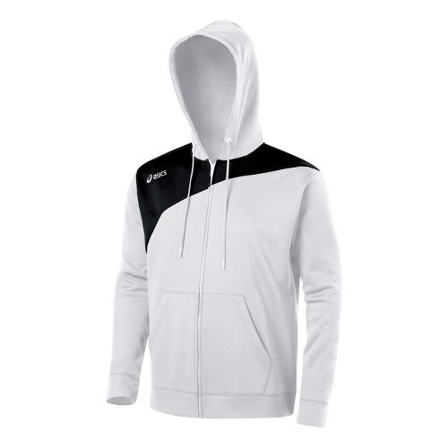 ASICS Poly Logo Fleece Warm-Up Hooded Jackets - White/Black XXL