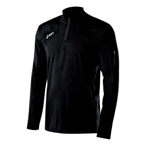 Mens ASICS Team Tech Long Sleeve 1/2 Zip Technical Tops - Black/Black M