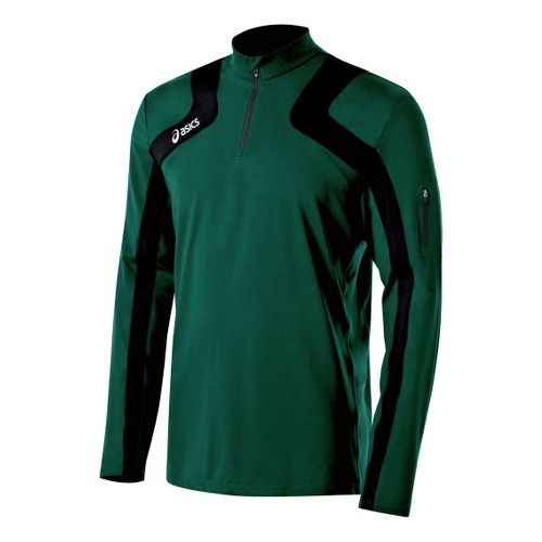 Mens ASICS Team Tech Long Sleeve 1/2 Zip Technical Tops - Forest/Black XS
