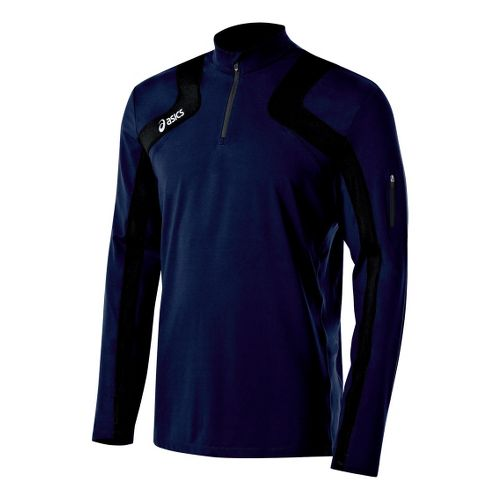 Mens ASICS Team Tech Long Sleeve 1/2 Zip Technical Tops - Navy/Black XS