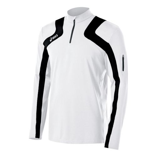 Mens ASICS Team Tech Long Sleeve 1/2 Zip Technical Tops - White/Black M