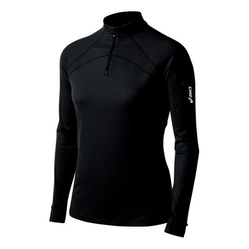 Womens ASICS Team Tech Long Sleeve 1/2 Zip Technical Tops - Black M