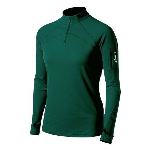 Womens ASICS Team Tech Long Sleeve 1/2 Zip Technical Tops - Forest XXL