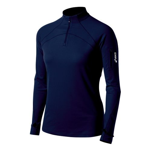 Womens ASICS Team Tech Long Sleeve 1/2 Zip Technical Tops - Navy L