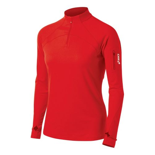 Womens ASICS Team Tech Long Sleeve 1/2 Zip Technical Tops - Red XL