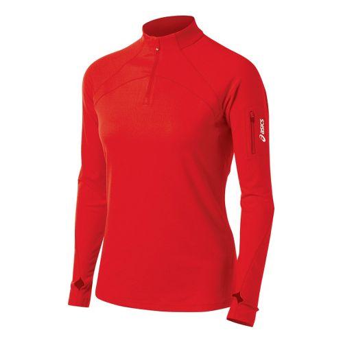 Womens ASICS Team Tech Long Sleeve 1/2 Zip Technical Tops - Red XS