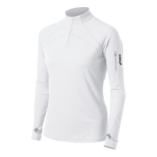 Womens ASICS Team Tech Long Sleeve 1/2 Zip Technical Tops - White XS