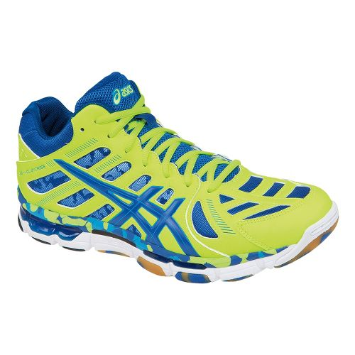 Mens ASICS GEL-Volleycross Revolution MT Court Shoe - Flash Yellow/Royal 10.5