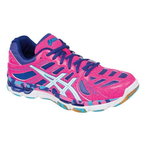 Womens ASICS GEL-Volleycross Revolution Court Shoe - KnockoutPink/Electric Blue 12
