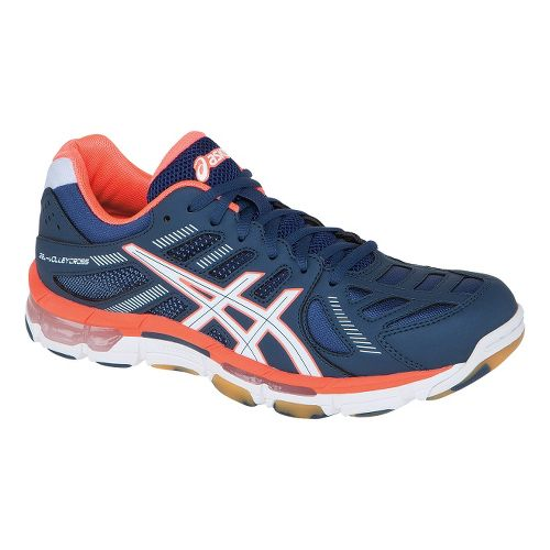 Womens ASICS GEL-Volleycross Revolution Court Shoe - Navy/White 6.5