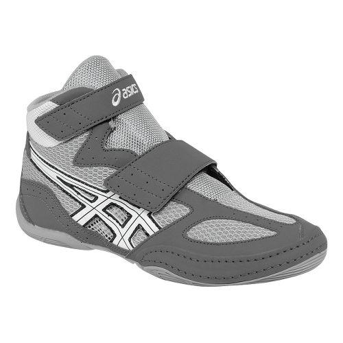 Kids ASICS Matflex 4 GS Wrestling Shoe - Granite/White 4.5