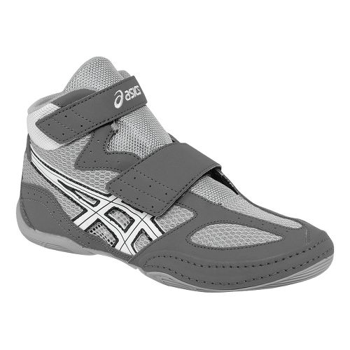 Kids ASICS Matflex 4 GS Wrestling Shoe - Granite/White 5.5