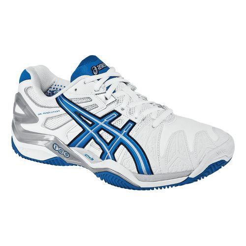 Mens ASICS GEL-Resolution 5 Clay Court Court Shoe - White/Royal Blue 10.5