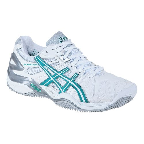 Womens ASICS GEL-Resolution 5 Clay Court Shoe - White/Aqua Green 5.5