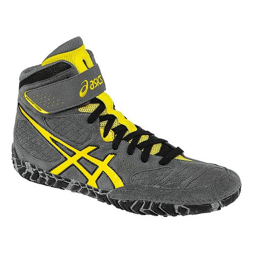 Mens ASICS Aggressor 2 Wrestling Shoe - Graphite/Sunflower 10