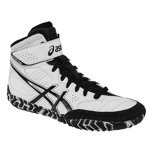 Mens ASICS Aggressor 2 Wrestling Shoe - White/Black 10.5