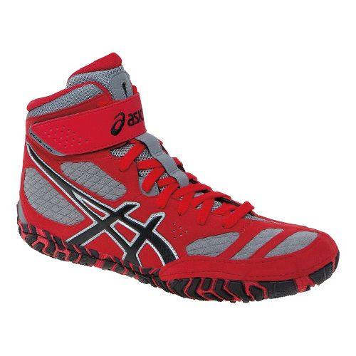 Mens ASICS Aggressor 2 Wrestling Shoe - Fire Red/Graphite 11