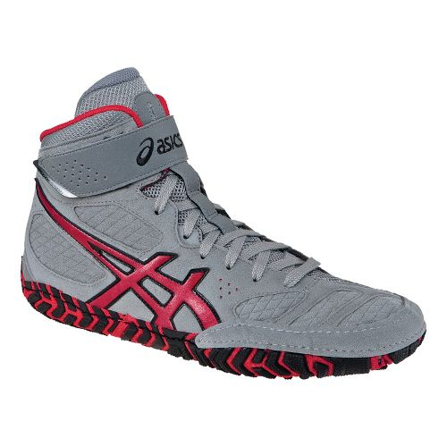 Mens ASICS Aggressor 2 Wrestling Shoe - Grey/Red 7.5