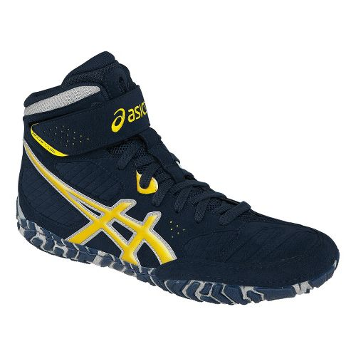 Mens ASICS Aggressor 2 Wrestling Shoe - Navy/Sunflower 11.5