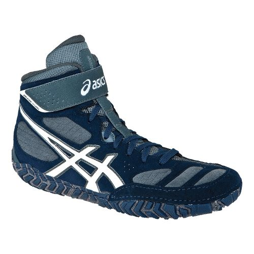 Mens ASICS Aggressor 2 Wrestling Shoe - Navy/White 10.5
