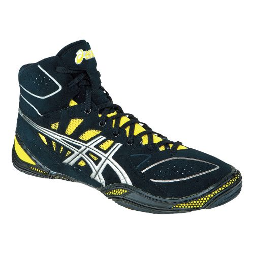 Mens ASICS Dan Gable Ultimate 3 Wrestling Shoe - Black/Silver 11.5