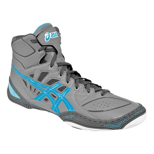 Mens ASICS Dan Gable Ultimate 3 Wrestling Shoe - Silver/Malibu 10