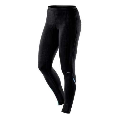 Womens ASICS Thermopolis LT Fitted Tights - Black Embossed L