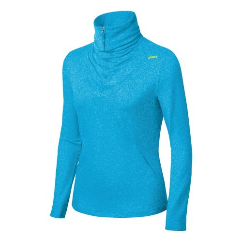 Womens ASICS Thermopolis LT Long Sleeve 1/2 Zip Technical Tops - Atomic Blue Heather S ...