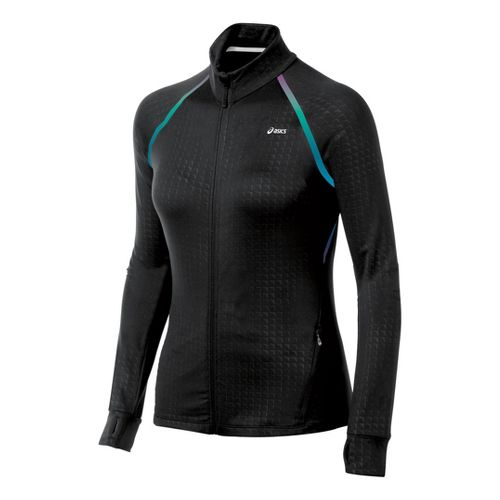 Womens ASICS Thermopolis LT Full Zip Running Jackets - Black Embossed M