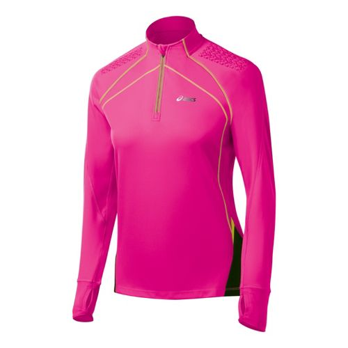 Womens ASICS FujiTrail Long Sleeve 1/2 Zip Technical Tops - PinkGlo L