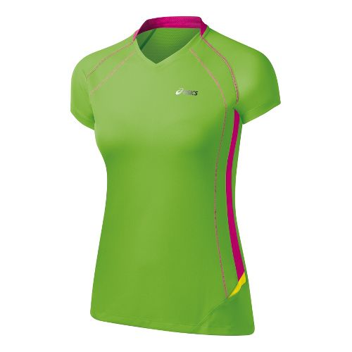 Womens ASICS FujiTrail Light Short Sleeve Technical Tops - Green Gecko L