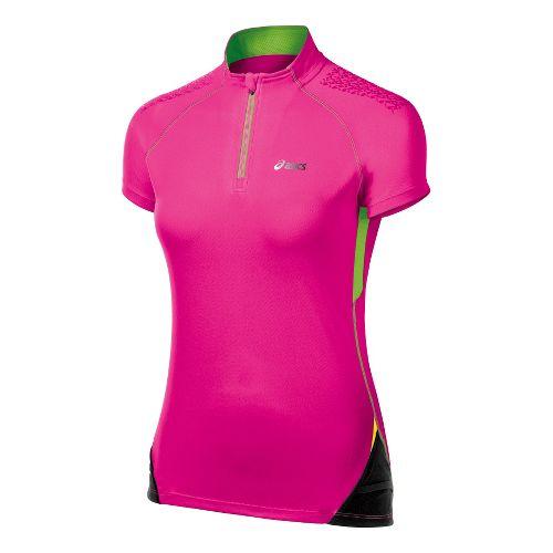 Womens ASICS FujiTrail 1/2 Zip Short Sleeve Technical Tops - PinkGlo M