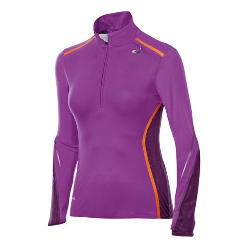 Womens ASICS ARD Long Sleeve 1/2 Zip Technical Tops - Purple Pop/Plum M