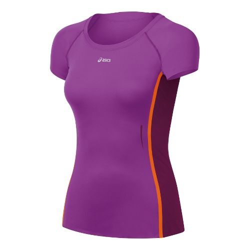 Womens ASICS ARD Short Sleeve Technical Tops - Purple Pop/Plum XS