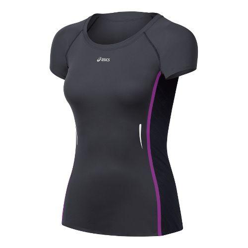 Womens ASICS ARD Short Sleeve Technical Tops - Steel/Black M