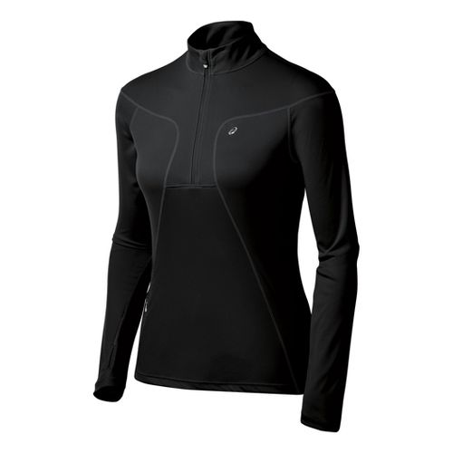 Womens ASICS Favorite Long Sleeve 1/2 Zip Technical Tops - Black XL
