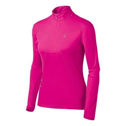 Womens ASICS Favorite Long Sleeve 1/2 Zip Technical Tops - PinkGlo L