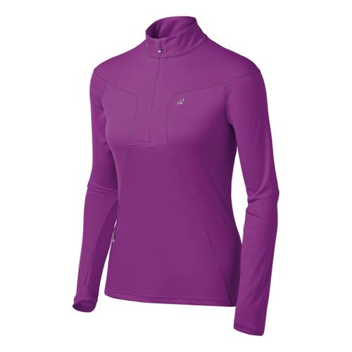 Womens ASICS Favorite Long Sleeve 1/2 Zip Technical Tops - Purple Pop L