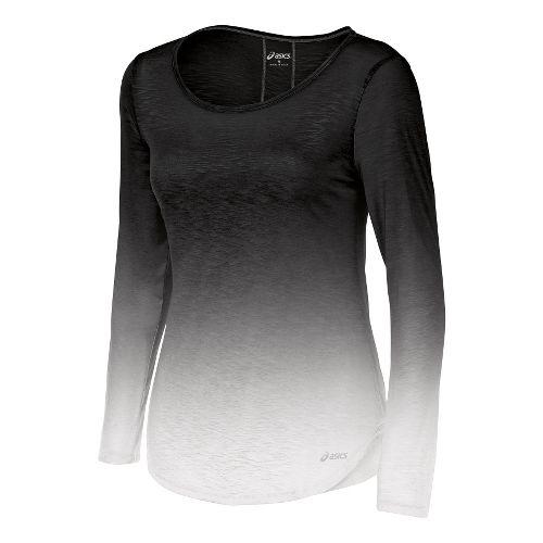 Womens ASICS PR Slub Long Sleeve No Zip Technical Tops - Black/White S