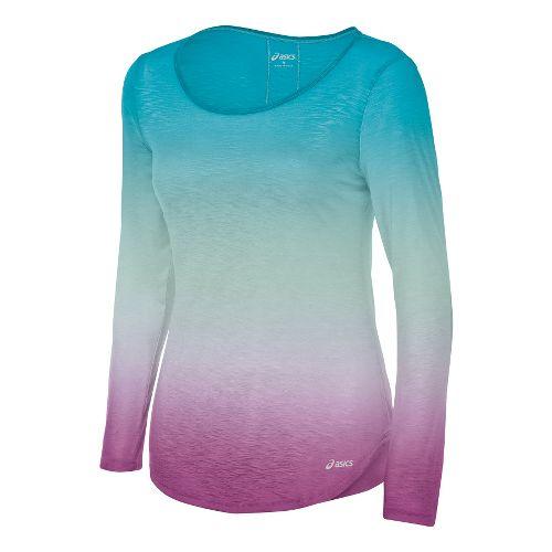 Womens ASICS PR Slub Long Sleeve No Zip Technical Tops - Bondi Blue L