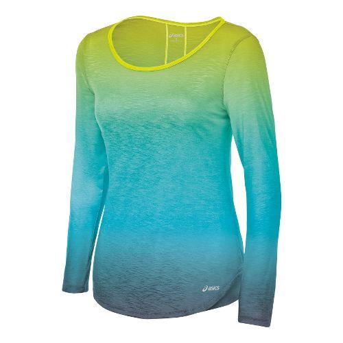 Womens ASICS PR Slub Long Sleeve No Zip Technical Tops - Electric Lime S